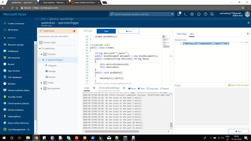 Azure function screenshot for testing
