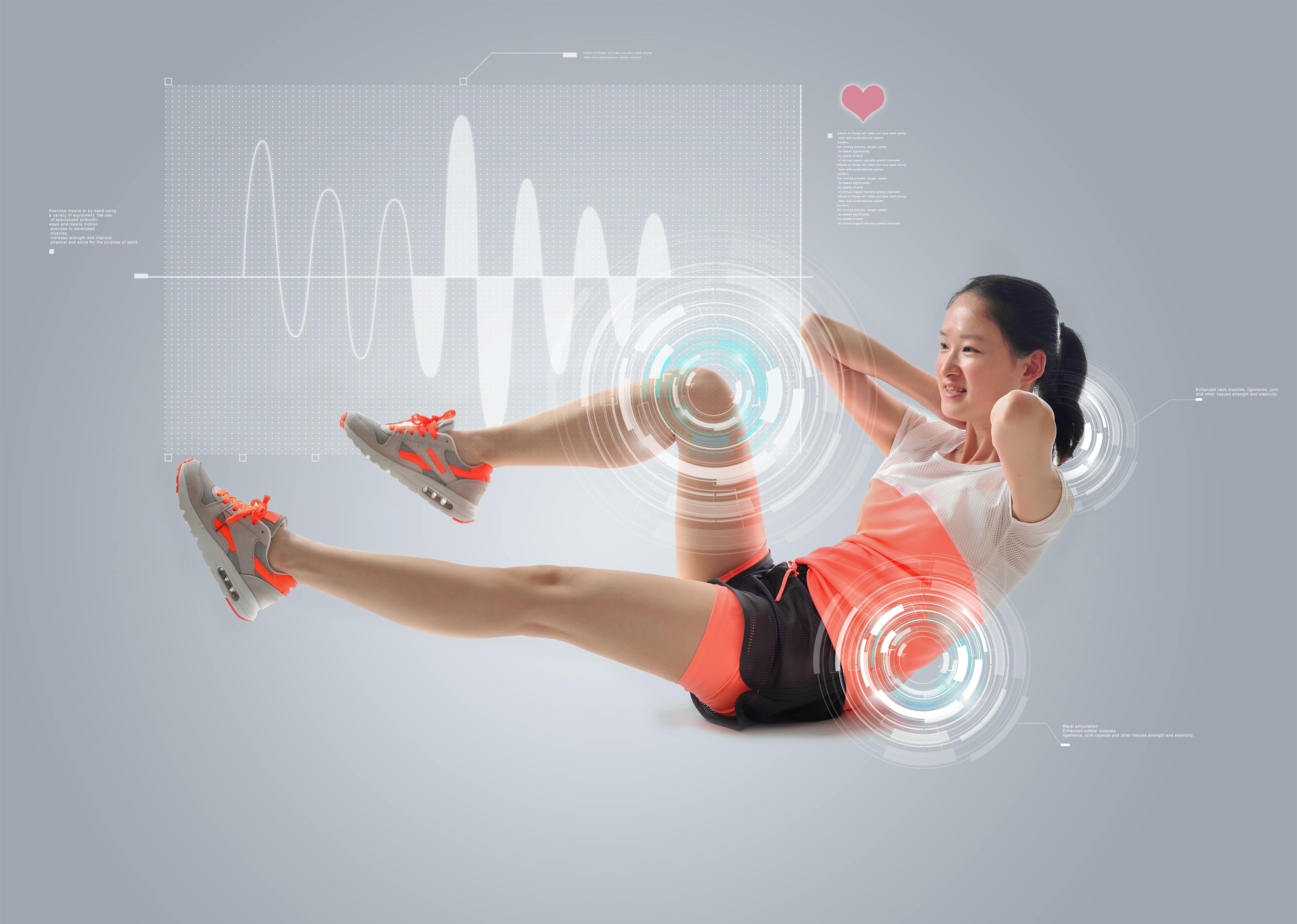 Woman working out measuring fitness analytics.